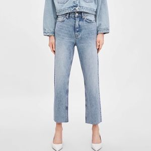 Zara denim- high rise straight leg jean